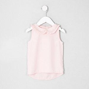 Mini - Roze top met rond kraagje voor meisjes