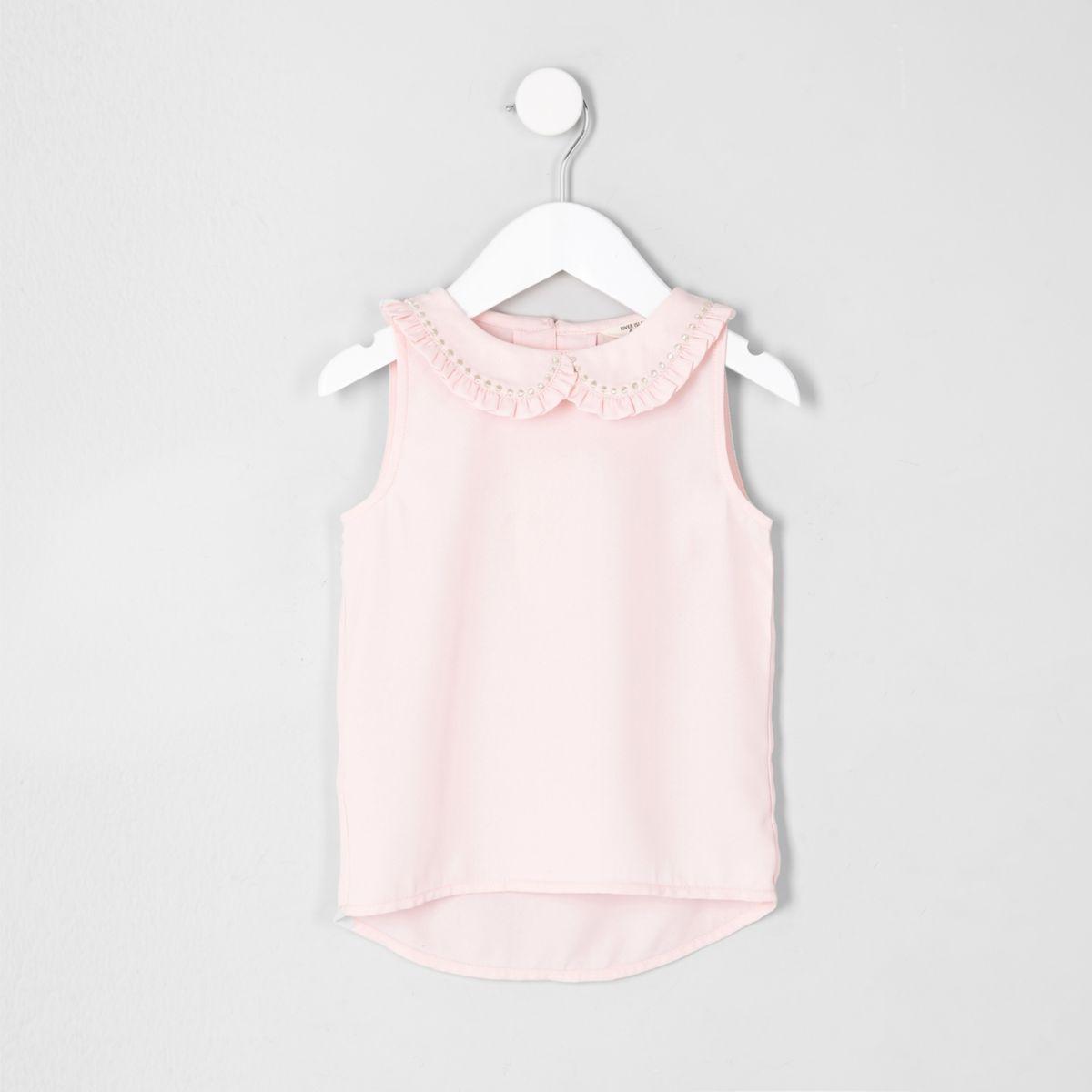 Mini girls pink Peter Pan collar shell top