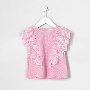 Mini girls red gingham broderie frill top