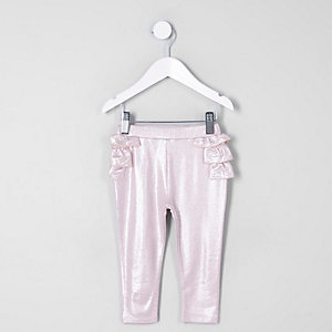 Mini girls pink metallic ruffle leggings