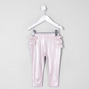 Mini girls pink metallic ruffle leggings