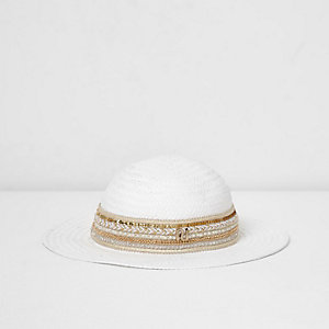 Girls white embellished trim straw hat