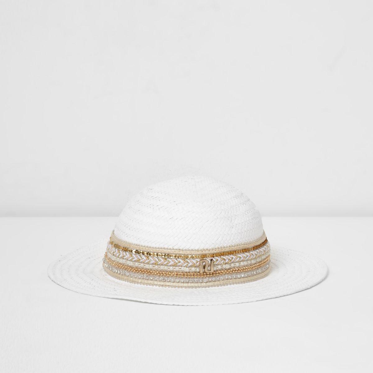 Mini girls white embellished trim straw hat
