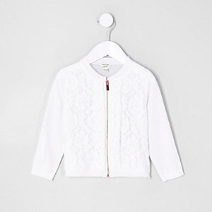 Mini girls white lace front zip up cardigan
