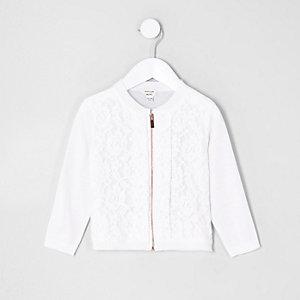 Mini girls white lace front zip up cardigan