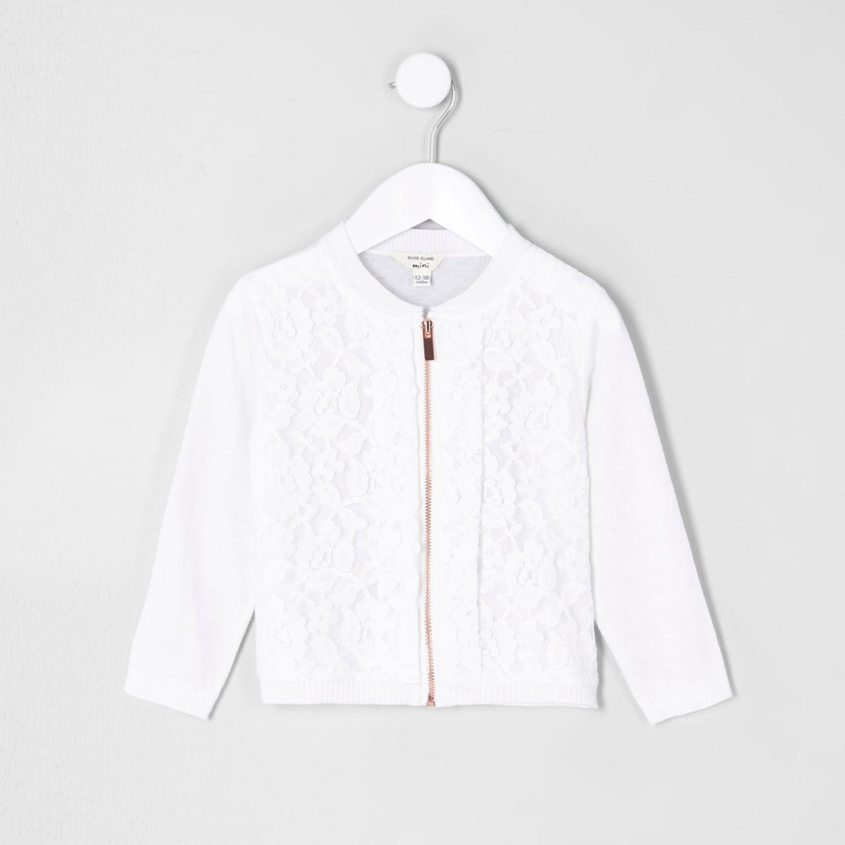 Cardigan blanc zippé avec devant en dentelle mini fille