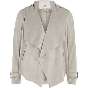 Girls grey waterfall collar faux suede jacket