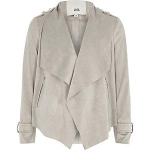 Girls grey faux suede waterfall jacket