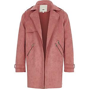 Trenchcoat in Pink aus Wildlederimitat