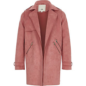 Girls pink faux suede trench coat