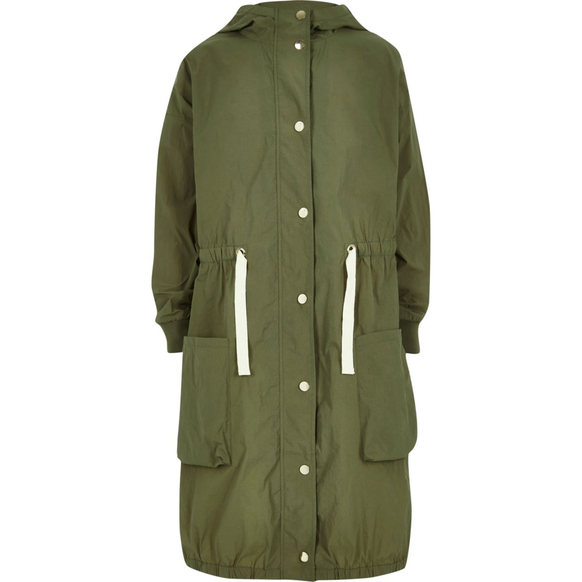 Girls khaki lightweight parka jacket