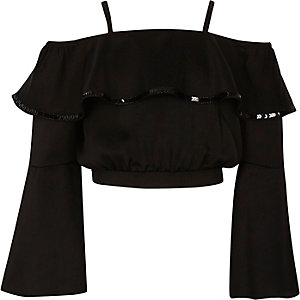 Girls black sequin bardot satin crop top
