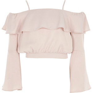 Girls lilac frill bardot satin crop top