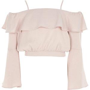Girls lilac frill bardot satin crop top