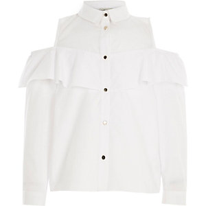 Girls white cold shoulder frill shirt