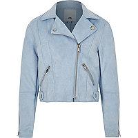 Girls blue faux suede biker jacket