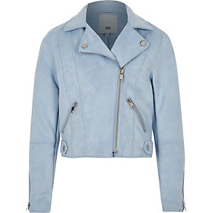 Girls blue faux suede biker jacket