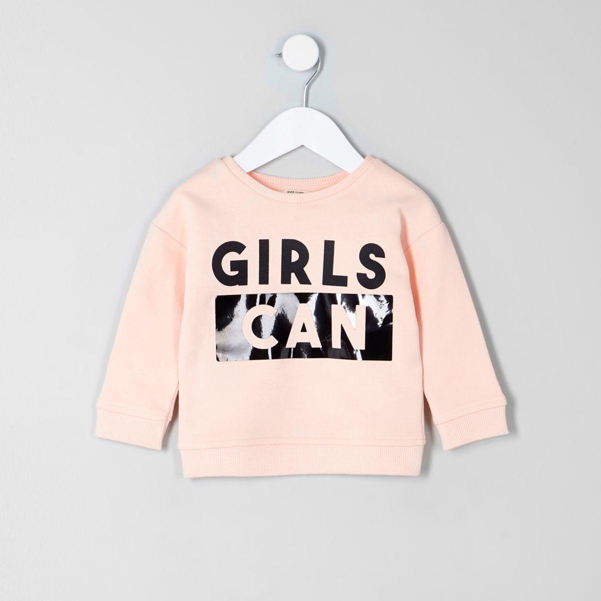 Mini girls pink 'girls can' print sweatshirt