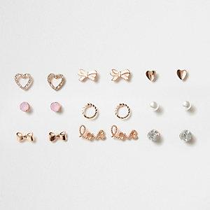 Lot de clous d'oreille façon or rose motif cœur pour fille