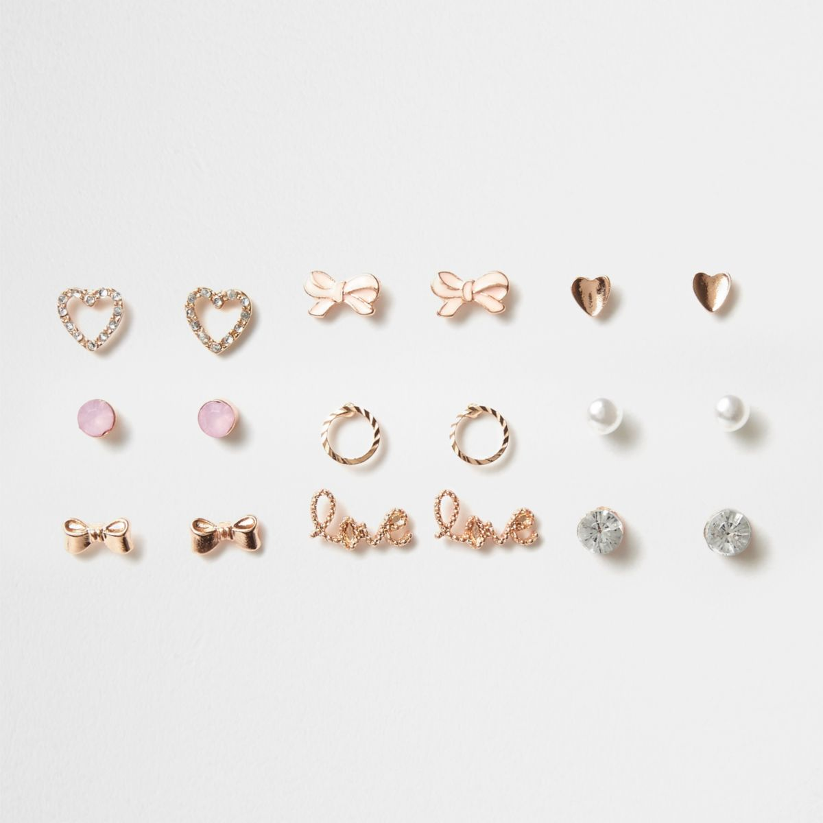 Girls rose gold tone heart stud earrings pack