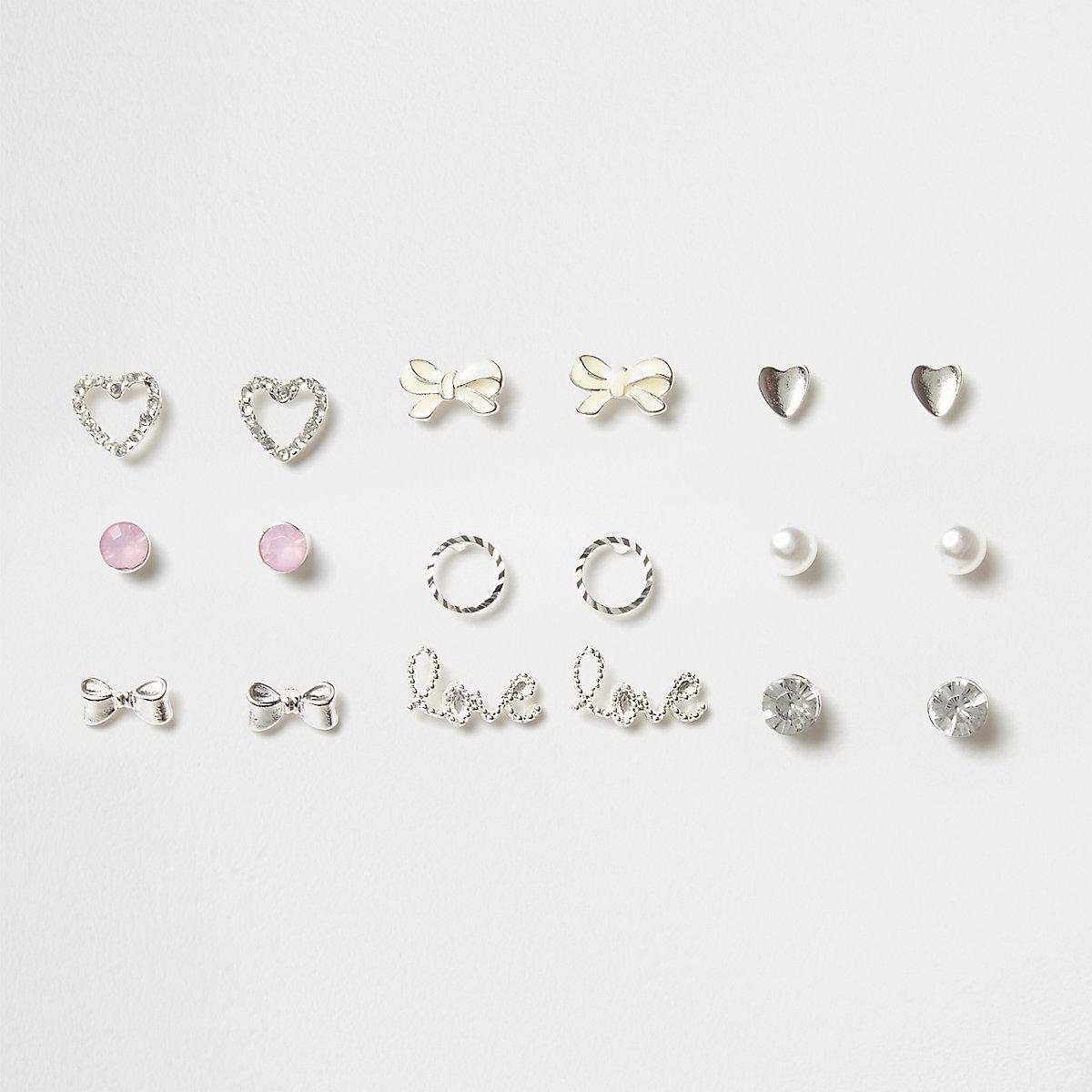 Girls silver tone heart stud earrings pack