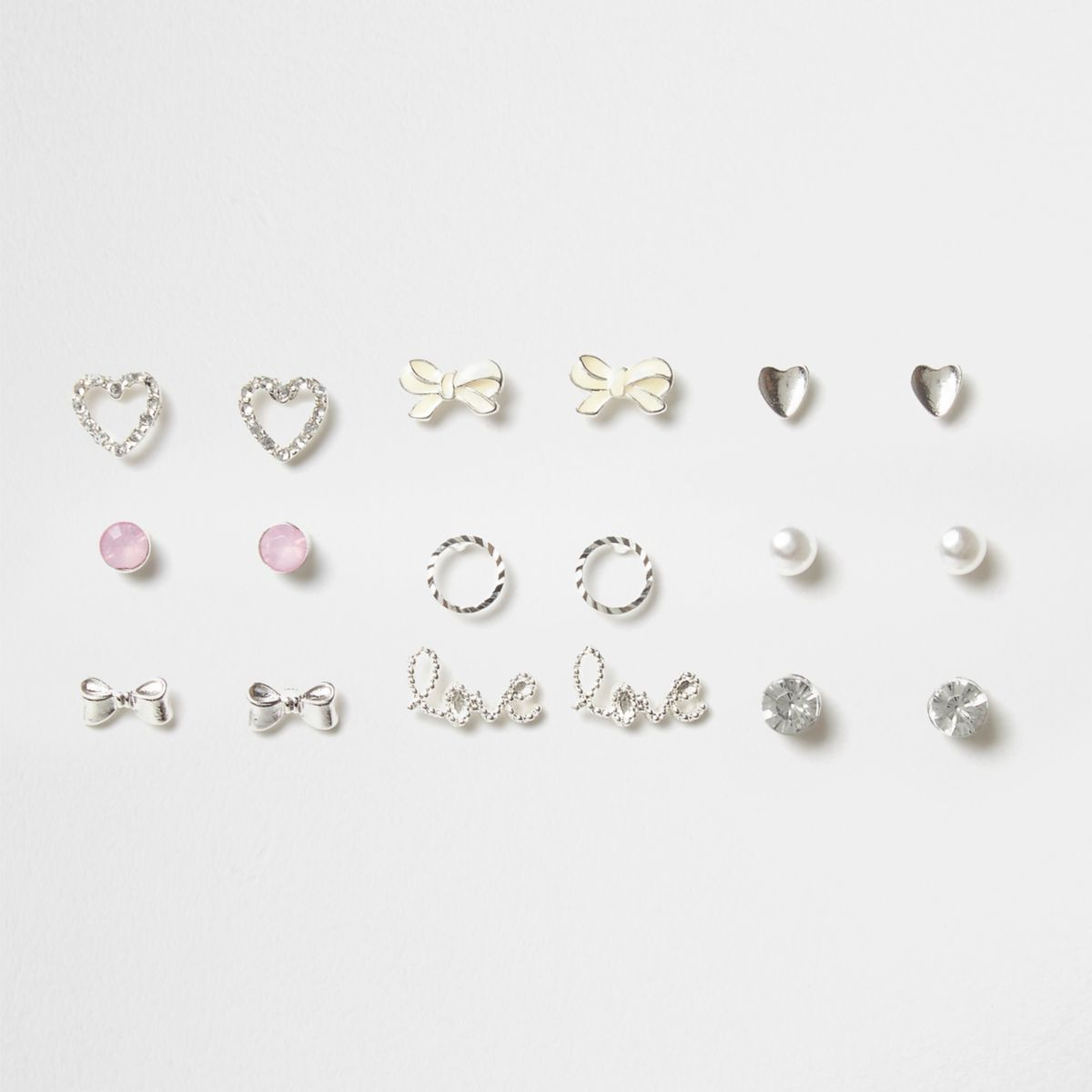 Girls silver tone heart stud earrings pack