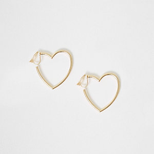 Girls gold tone heart shaped clip on earrings