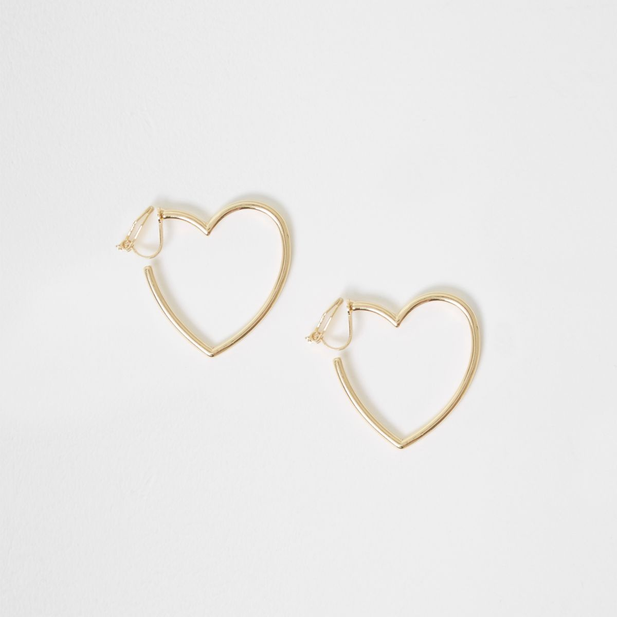 Boucles d'oreilles dorées motif cœur à clips pour fille