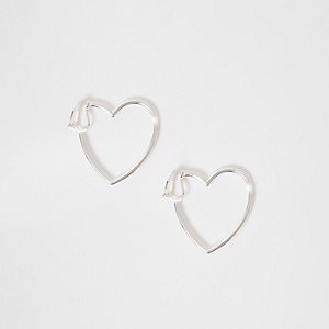 Girls silver tone heart clip on earrings