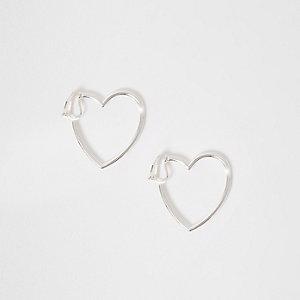 Boucles d'oreilles argentées motif cœur à clips pour fille