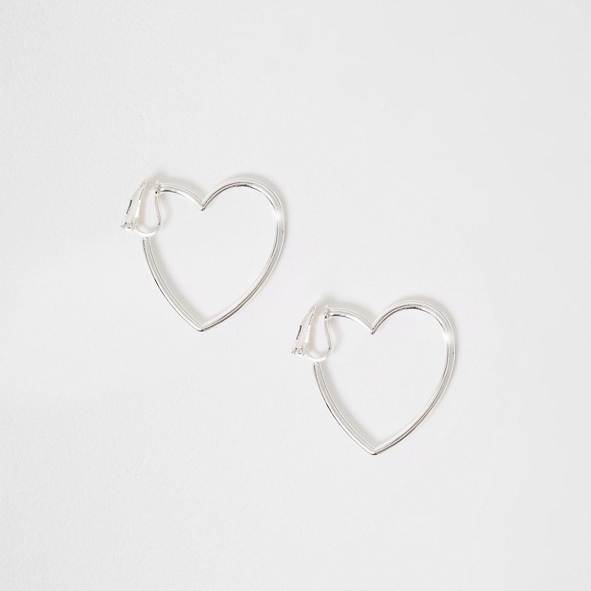 Girls silver tone heart clip on earrings