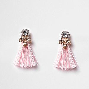 Roze oorhangers met kwastjes en siersteentjes voor meisjes