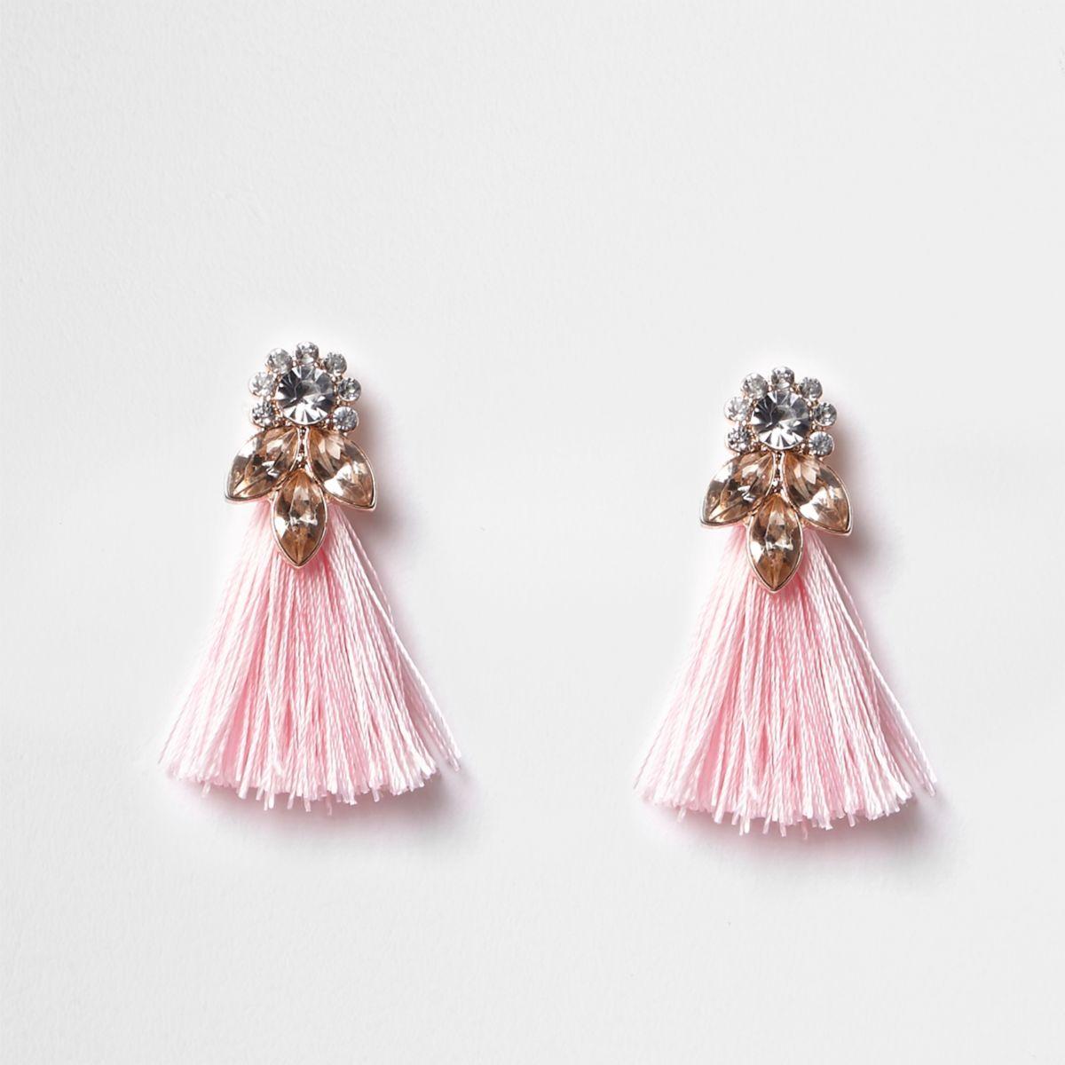 Girls pink jewel tassel drop earrings