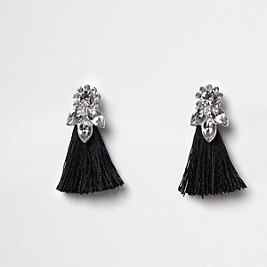 Girls black jewel tassel drop earrings