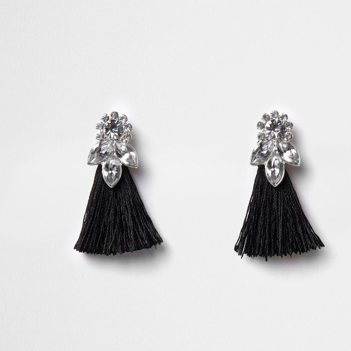 Girls black jewel tassel drop earrings