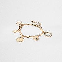 Girls gold tone charm bracelet