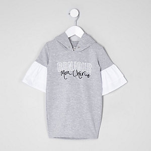 Mini girls grey 'bonjour' print hoodie dress