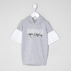 Mini - Grijze hoodie-jurk met 'bonjour'-print voor meisjes