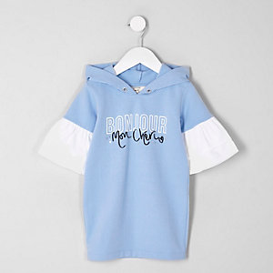 Mini girls blue 'bonjour' hoodie dress