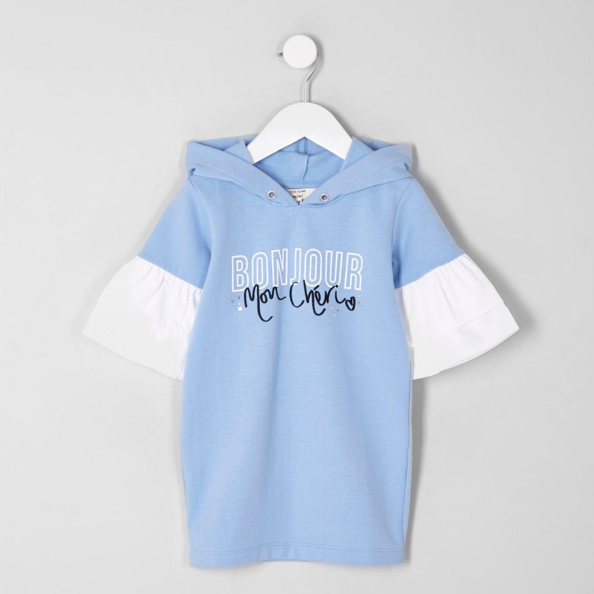 Mini girls blue 'bonjour' hoodie dress