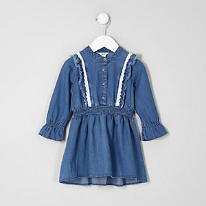 Mini girls blue denim long sleeve frill dress