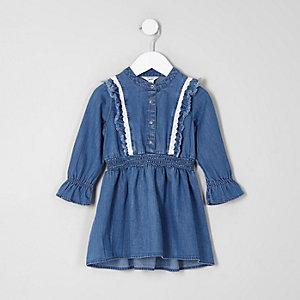Mini - Blauwe denim jurk met lange mouwen en ruches voor meisjes