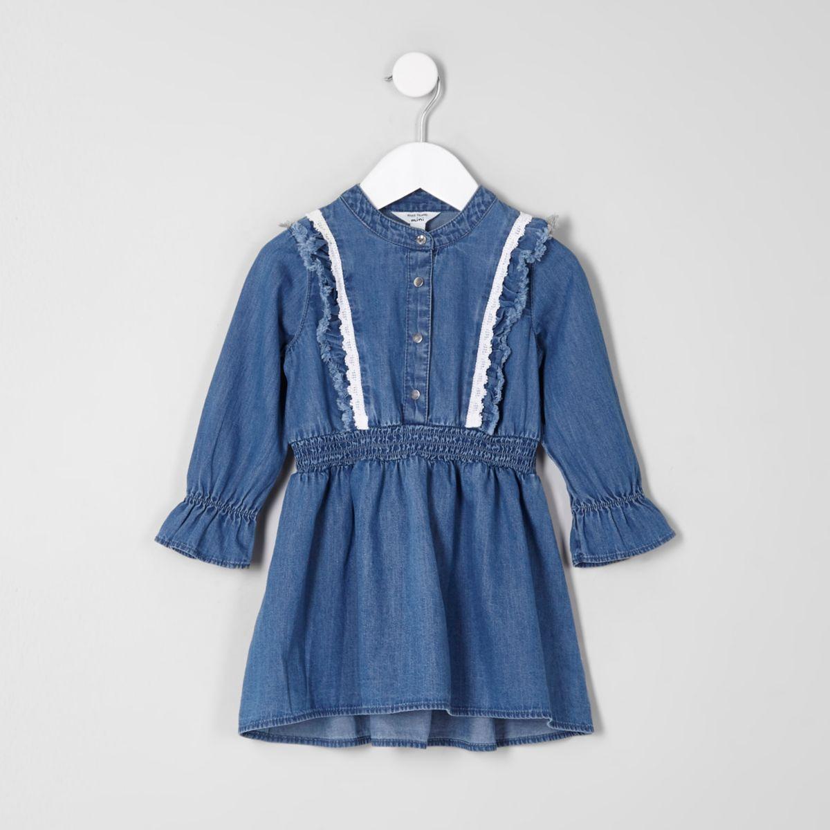 Mini girls blue denim long sleeve frill dress