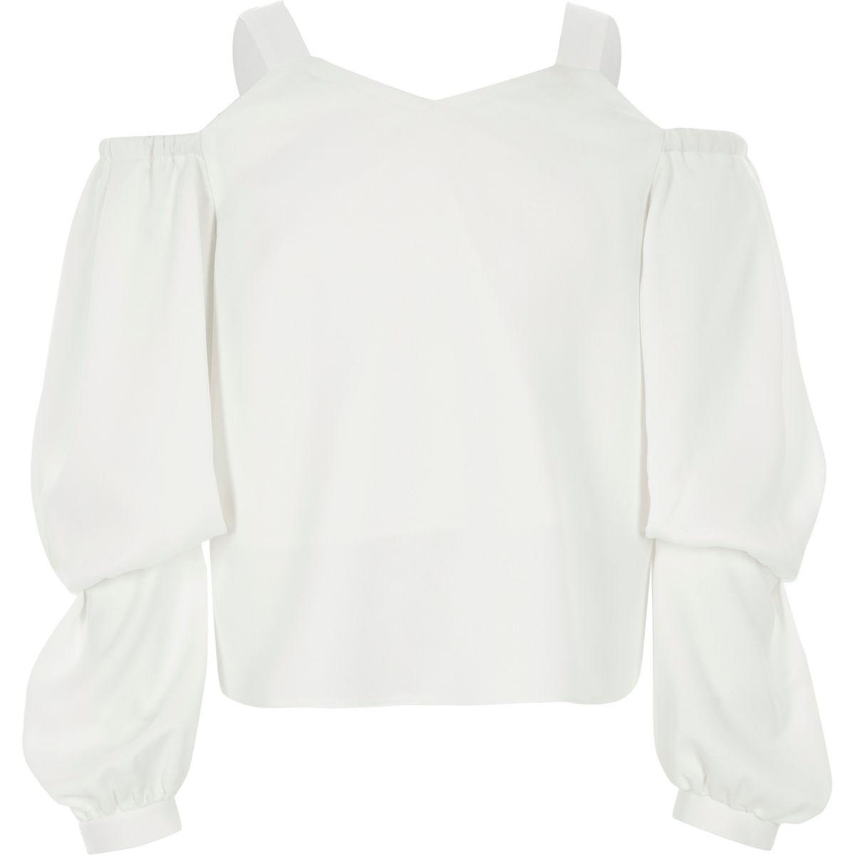 Girls cream satin long puff sleeve top