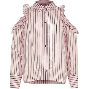 Girls pink stripe frill cold shoulder shirt