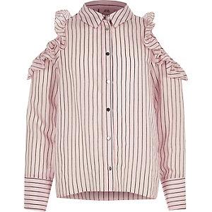 Roze gestreept schouderloos overhemd met ruches voor meisjes