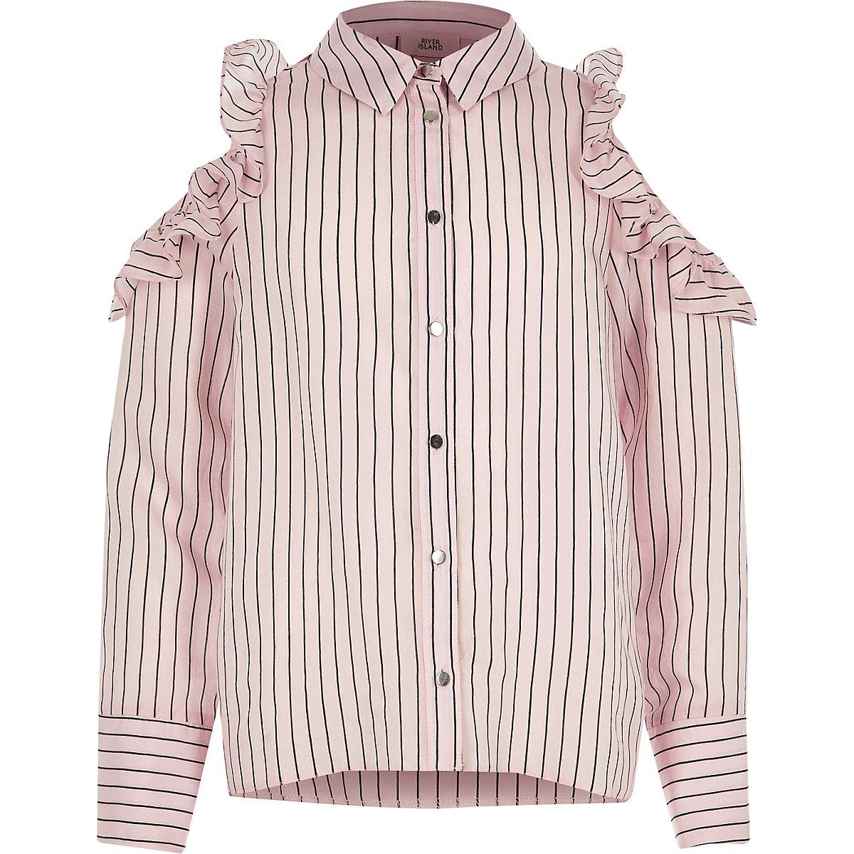 Girls pink stripe frill cold shoulder shirt