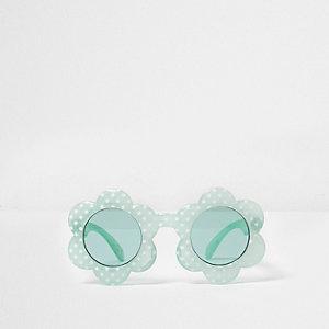 Mini - Groene zonnebril met gestippeld bloemmontuur voor meisjes