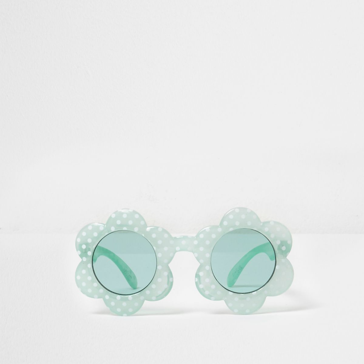 Mini girls green polka dot flower sunglasses