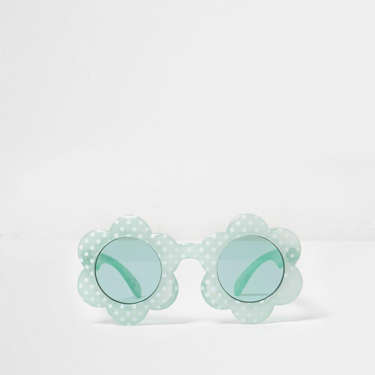 Mini girls green polka dot flower sunglasses